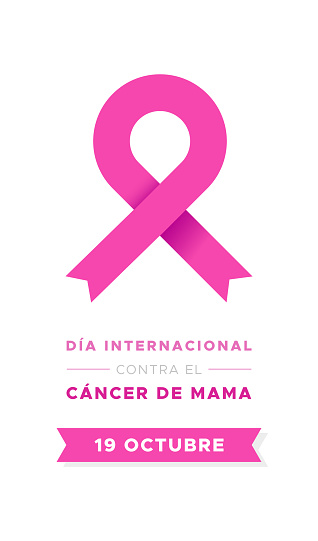 International Day of Breast Cancer in Spanish. Dia internacional contra el cancer de mama. Modern pink ribbon. Vector illustration, flat design