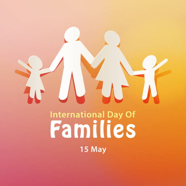 International Day of Families 15 May Celebrating the International Day of Families on 15 May annually with paper cutting of a family holding hands together reflecting the importance of family happy family stock illustrations