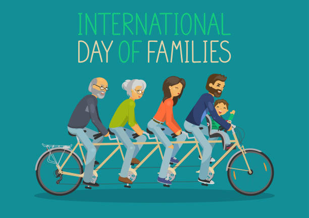 international day of families. - old man on bike stock illustrations, clip art, cartoons, & icons