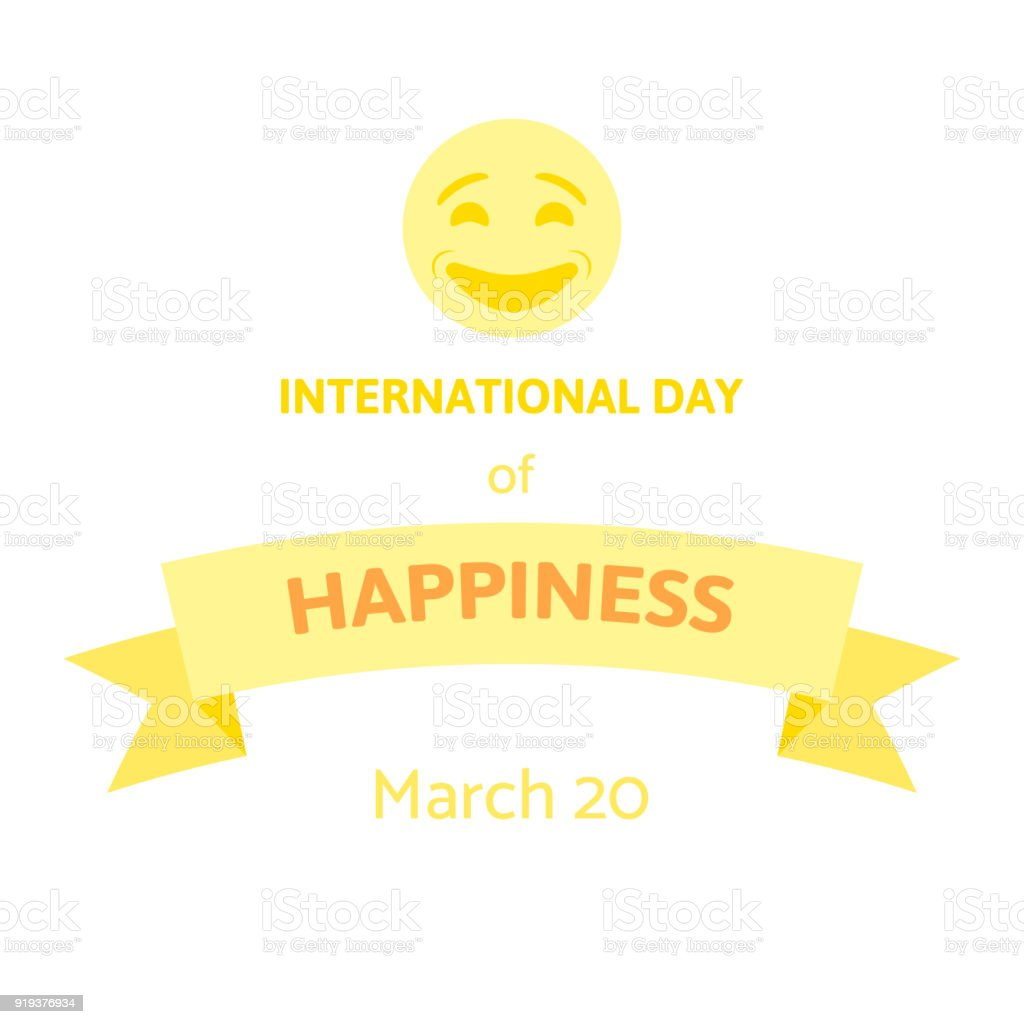International Day of Happiness. World happy day vector illustration on white vector art illustration