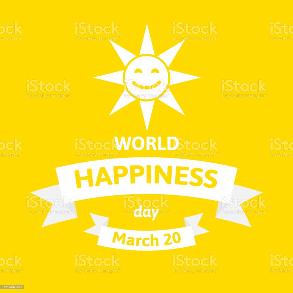 International Day of Happiness. World happy day vector illustration with sun face on yellow vector art illustration