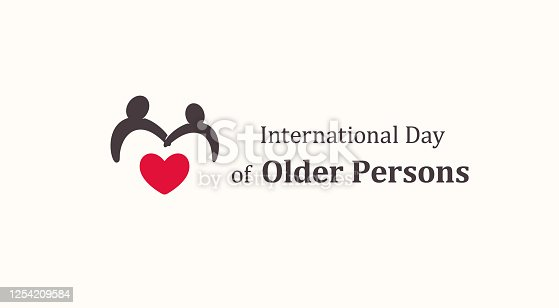 International Day of Older Persons emblem template, two older persons silhouette with red heart, senescence people symbol, raising awareness about issues affecting elderly logo, vector icon.