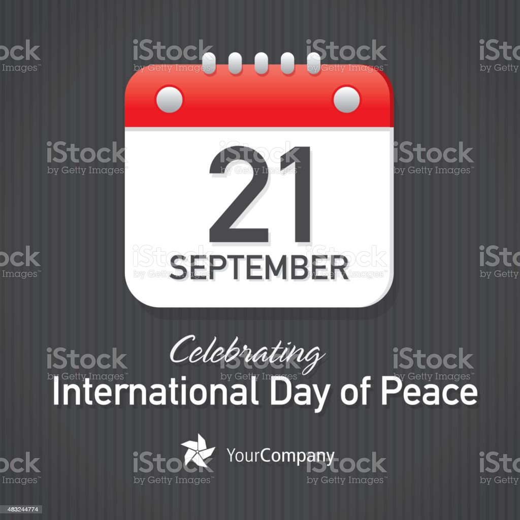 International Day Of Peace Day Calendar Design Layout Template Stock