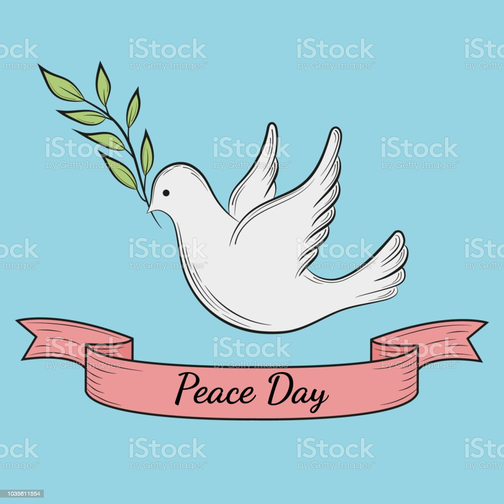 International Day Of Peace Dove Of Peace With Olive Branch On Blue ...