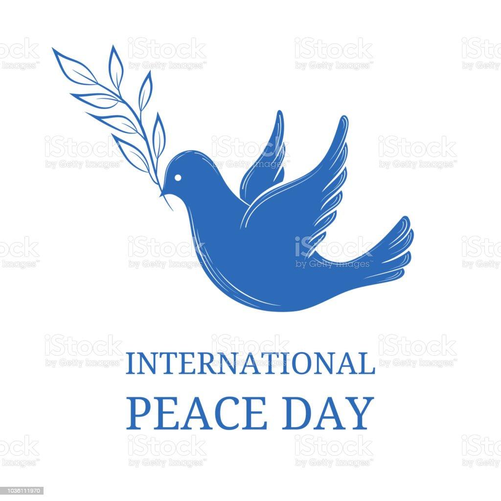 平和の国際デー青の背景にオリーブの枝との平和の鳩はがきポスターや web