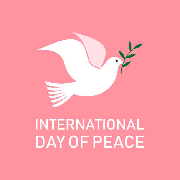 International Day of Peace. Dove with a olive branch International Day of Peace. Dove with a olive branch. Vector Illustration tranquility stock illustrations