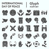 International day of peace glyph icon set, peace set symbols collection, vector sketches, logo illustrations, computer web signs solid pictograms package isolated on white background, eps 10