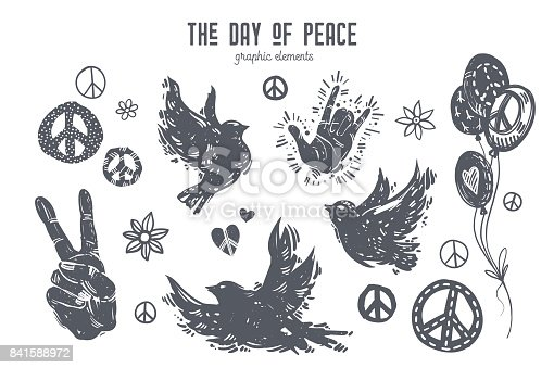 International day of peace graphic set. Linocut style birds, doves, hands, balloons, peace symbols, hearts, flowers. Hand drawn vector elements for design poster, card, t-shirt, web banner.