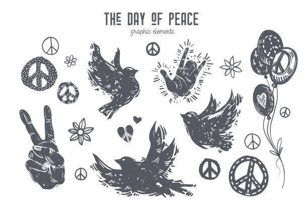 International day of peace graphic set International day of peace graphic set. Linocut style birds, doves, hands, balloons, peace symbols, hearts, flowers. Hand drawn vector elements for design poster, card, t-shirt, web banner. symbols of peace stock illustrations