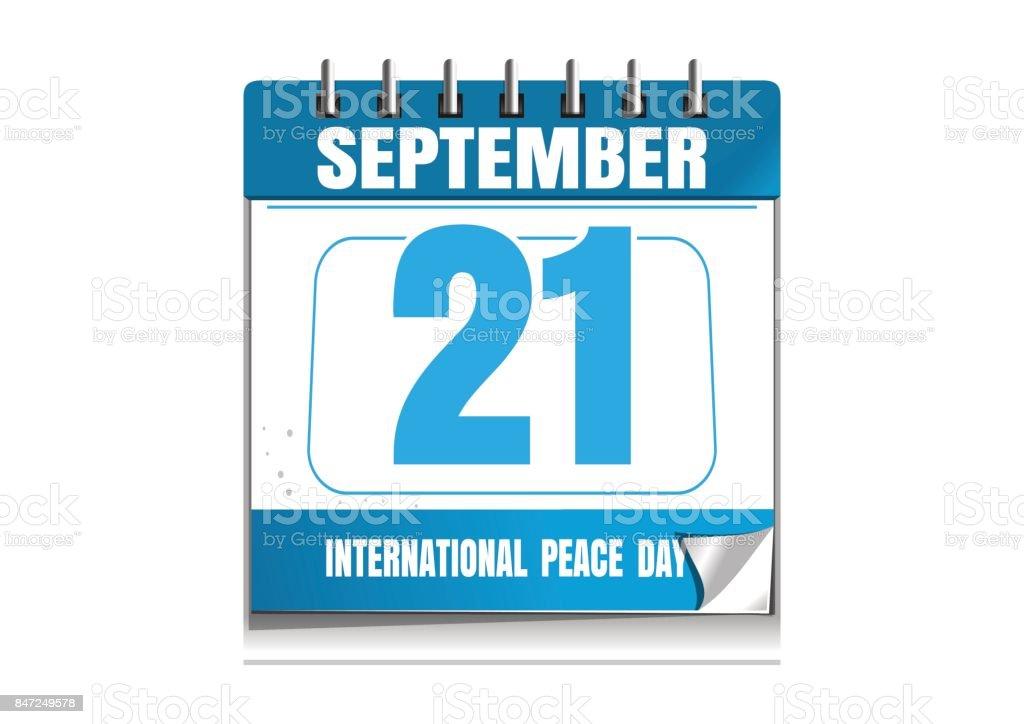 Internationaler Tag des Friedens. Wandkalender – Vektorgrafik