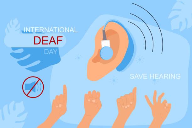 國際聾人日9月23日手繪向量插圖。耳助器,航空器手語交流。 - hearing aid 幅插畫檔、美工圖案、卡通及圖標