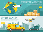 International delivery. Business Logistics concept, Global business connection technology interface global partner connection.