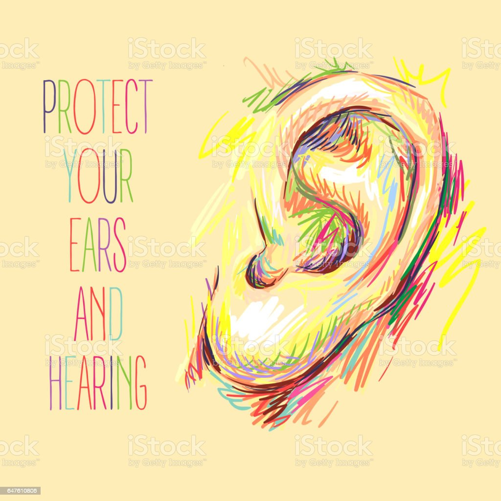International Ear Care Day. Ear sketch. Health care vector illustration. Medical poster design. Hearing loss. Protect your ears and hearing. Take care of your hearing International Ear Care Day. Ear sketch. Health care vector illustration. Medical poster design. Hearing loss. Protect your ears and hearing. Take care of your hearing Anatomy stock vector