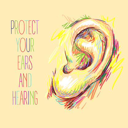 International Ear Care Day Ear Sketch Health Care Vector Illustration Medical Poster Design Hearing Loss Protect Your Ears And Hearing Take Care Of Your Hearing Stock Illustration - Download Image Now