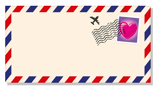 International Envelope with a Stamp with an Loving Heart