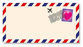 Vector Illustration of a International Envelope with a Stamp with an Loving Heart and a rubber stamp over it