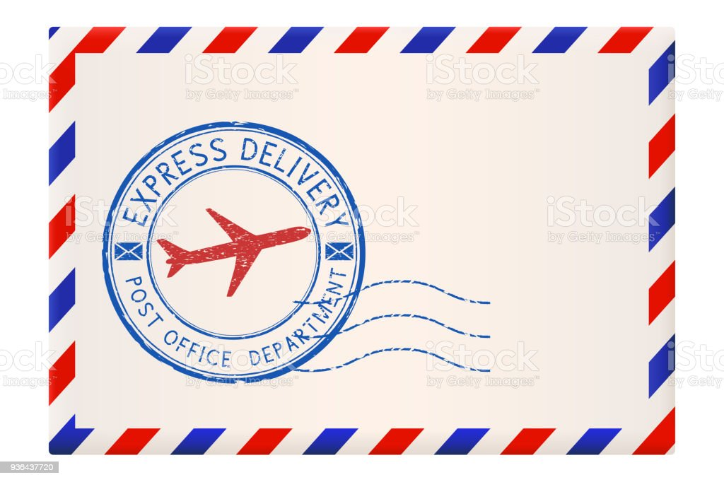 international envelope with red and blue border with express delivery stamp royalty free international