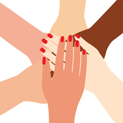 International Female Hands Folded In The Center Unity Symbol Team Group Woman Arm With Manicure And