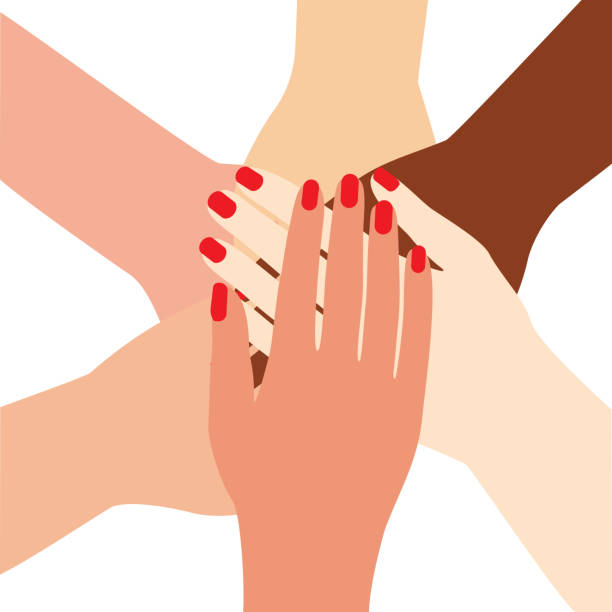 International female hands folded in the center, unity symbol, team, group. Woman arm with manicure and red nail polish for girl power concept. Vector illustration isolated on white background. International female hands folded in the center. Woman arm with manicure and red nail polish for girl power concept. Vector illustration isolated white nail polish stock illustrations