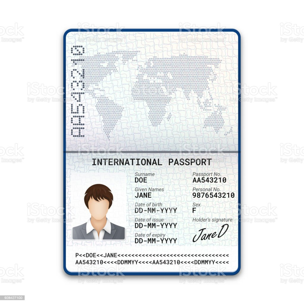 International Female Passport Template With Sample Of Photo Signature And  Other Personal Data Vector Illustration Stock Illustration - Download Image
