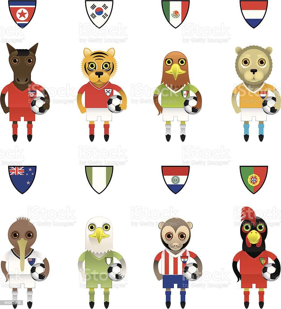 International Football / Soccer Mascot Animal Characters royalty-free stock vector art