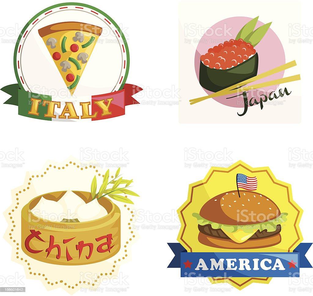 International gourmet food icons royalty-free stock vector art