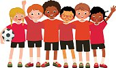 International group kids soccer team on a white background