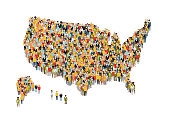 International group of peoples from different social status stand in USA map silhouette on white