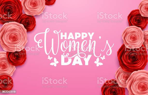 International happy womens day greeting card with roses flower on vector id962042518?b=1&k=6&m=962042518&s=612x612&h=c9ybluvittasmicotjntagpbmhft2esjlq4 da1mxyy=