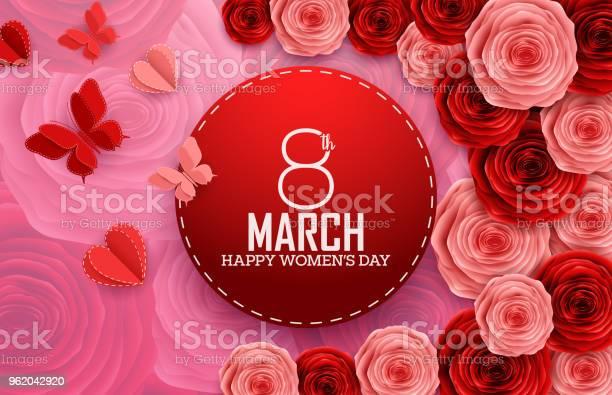 International happy womens day with paper cutting butterflies roses vector id962042920?b=1&k=6&m=962042920&s=612x612&h=ozsjyufbhj5e kxkghexpziqh6ryij fegksdblpvj4=