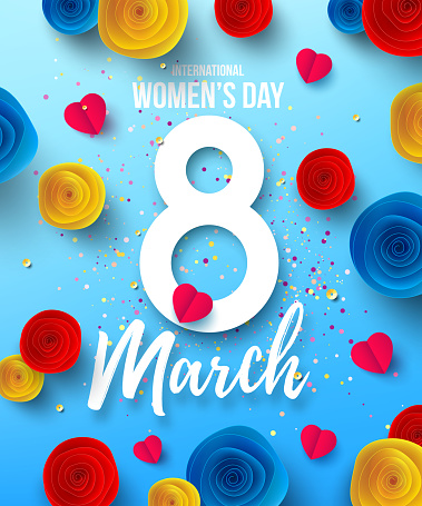International Happy Women's Day,8 March holiday Poster or banner with paper flower.Happy Mother's Day.Trendy Design Template for 8 March. Women's Day.Vector illustration EPS10