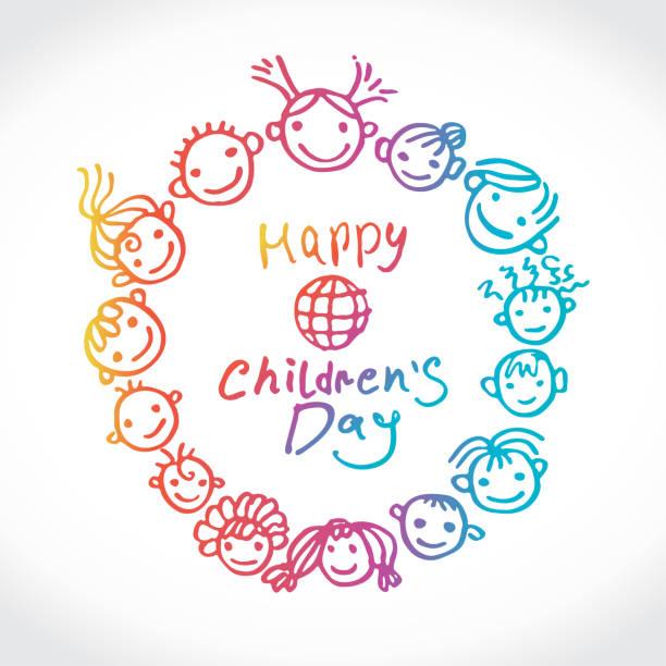 stockillustraties, clipart, cartoons en iconen met internationale vakantie gelukkige dag van de kinderen. ronde vector logo internationale children's day. - kinderdag