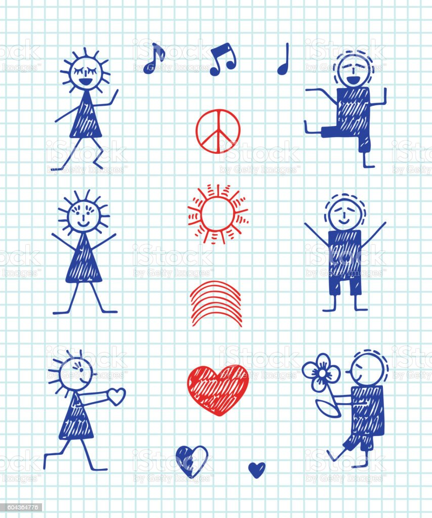 International Holiday World Peace Day Symbols In Children Drawing