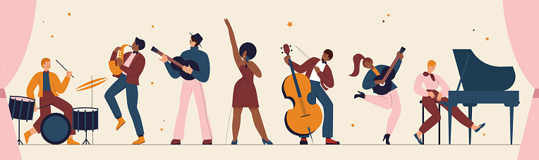 International jazz day, retro festival party concert, musicians of live music band panorama