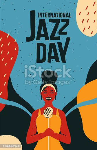 International Jazz Day retro poster illustration of black woman singer with colorful abstract background for music concert event.