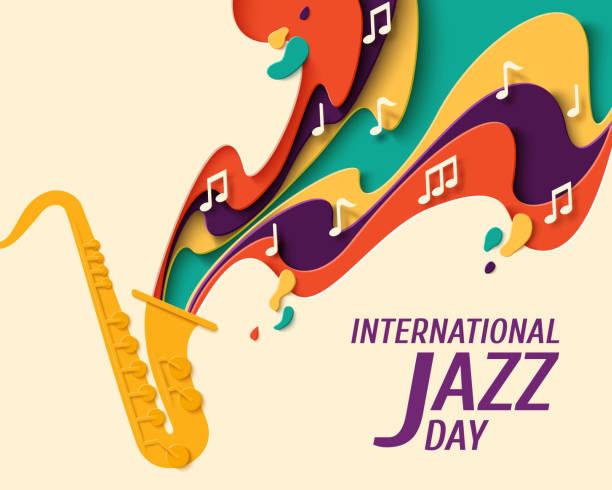 ilustrações de stock, clip art, desenhos animados e ícones de international jazz day vector background - saxofone