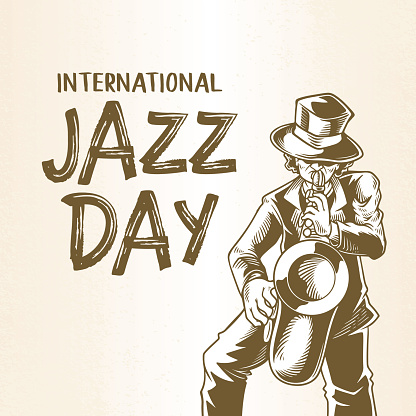 International jazz day with hand drawn saxophonist, a man blowing saxophone sketch drawing. Celebration music banner design for musician community.