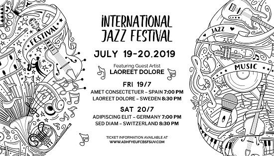 International jazz festival web banner outline vector template