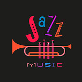 International Jazz Music Day hand drawn flat colorful vector icon. Fancy lettering Jazz. Vintage musical instrument cartoon design element. Music Festival event advertisement background illustration