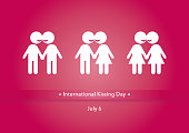 Vector illustration the kissing figures. Important day