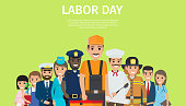 Labor Day bright promotion poster with representatives of all common professions in work uniforms on green background vector illustration.
