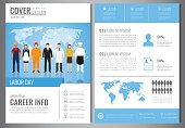 International Labor Day Brochure Design Template. People of different occupations. Flyer with profession icons. Vector illustration