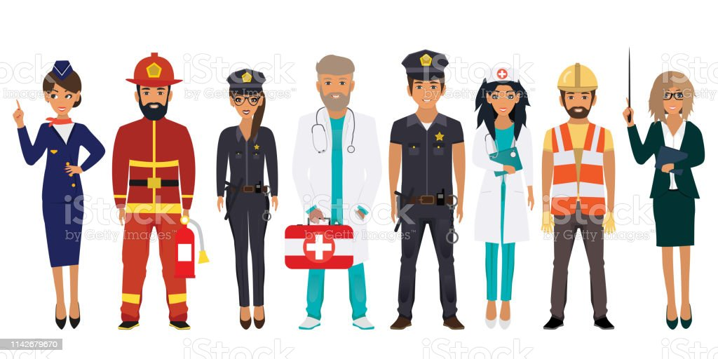 International Labor Day. People of different professions set on a...