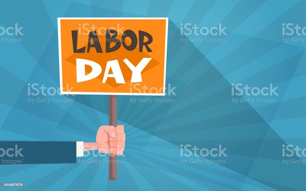 International labor day poster in vintage style greeting card with international labor day poster in vintage style greeting card with hand holding banner royalty free m4hsunfo