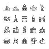 Landmarks and Famous Sights -  outline vector icon set.\n\nCONTENT BY ROWS\n\nFirst row of icons contains:\nToronto skyline (CN Tower), Кukulkan Pyramid — Mexico, Capitol Building (Washington, D.C.), White house (Washington, D.C.), Statue of Liberty (New York City);\n\nSecond row contains:\nColiseum - Rome, Eiffel tower - Paris, Arc de Triomphe - Paris, Big Ben - London, Tower Bridge - London;\n\nThird row contains:\nSagrada Familia - Barcelona, Amsterdam buildings, Leaning Tower of Pisa, Brandenburg Gate - Berlin, St. Basil's Cathedral (Kremlin, Moscow); \n\nFourth row contains:\nForbidden City — Beijing China, Moai statue — Easter island, Taj Mahal - Agra India, Great Wall of China, Giza Pyramids.\n\n20 Outline style black and white icons / Set #47\nPixel Perfect Principle - all the icons are designed in 64x64px grid, outline stroke 2px.\n\nComplete Unico PRO collection - https://www.istockphoto.com/collaboration/boards/dB-NuEl7GUGbQYmVq9IlDg