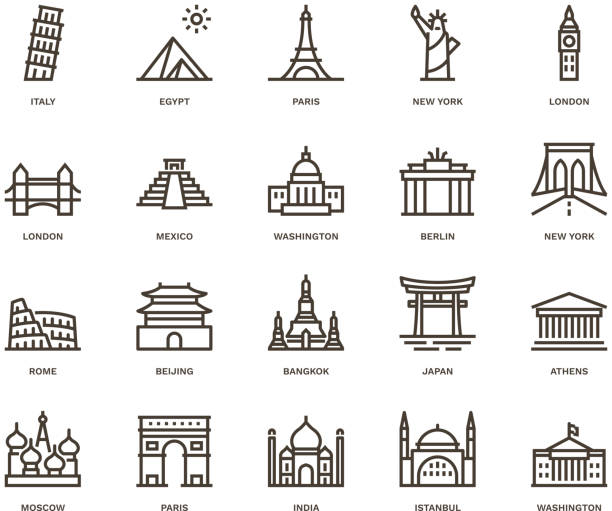 International Landmarks and Monuments,  Monoline concept The icons were created on a 48x48 pixel aligned, perfect grid providing a clean and crisp appearance. Adjustable stroke weight. international landmark stock illustrations