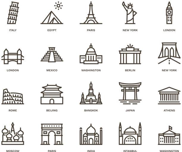 bildbanksillustrationer, clip art samt tecknat material och ikoner med internationella landmärken och monument, monoline concept - internationell sevärdhet