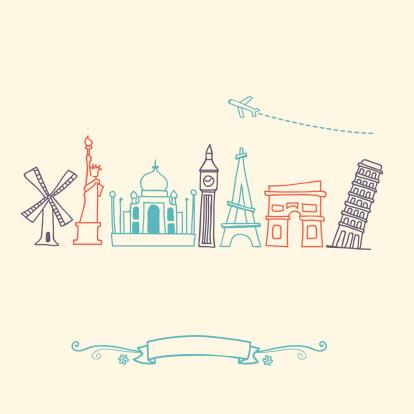 International landmarks and travel destinations cityscape set