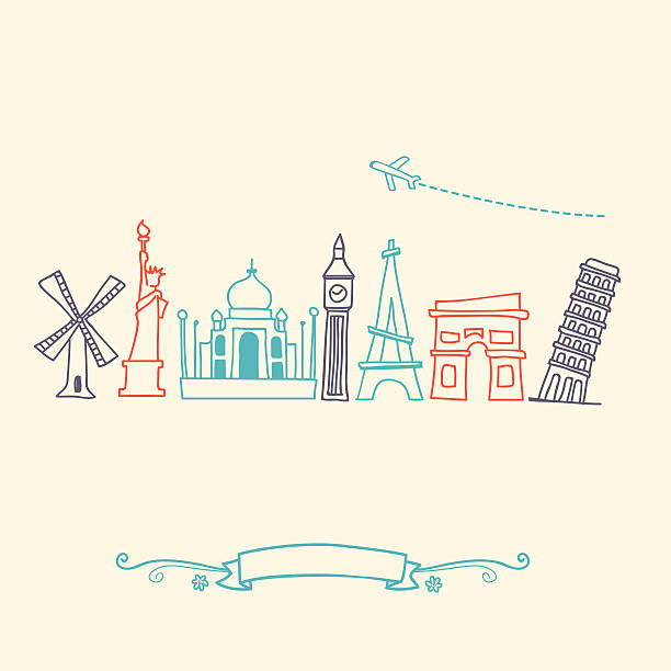 international landmarks and travel destinations cityscape set - europe travel stock illustrations, clip art, cartoons, & icons