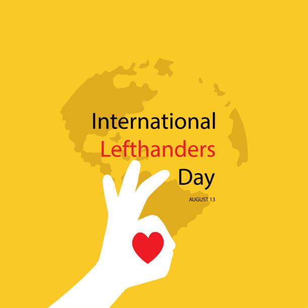 illustrazioni stock, clip art, cartoni animati e icone di tendenza di international lefthanders day. august 13 - mancino